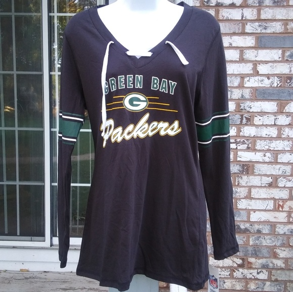 1a6039d28da NFL Tops | Womens Green Bay Packers Lace Up Long Sleeve Me | Poshmark